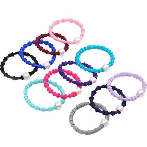 Lurrose Elastische Haar Ties Parel Decoratieve Haar Vlecht Ringen Minimalistische Stijl Haarbanden met voor Vrouwen Gemengde Kleur