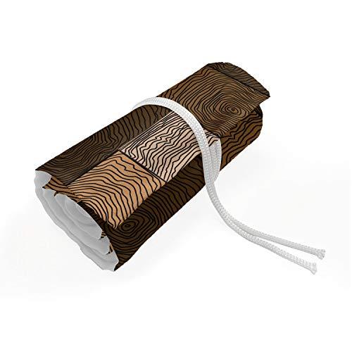 ABAKUHAUS Chocola Etui met Rolomslag voor Pennen, Houten Parket Motif, Duurzame & Draagbare Potloodetui, 36 Vakjes, Beige Pale Brown