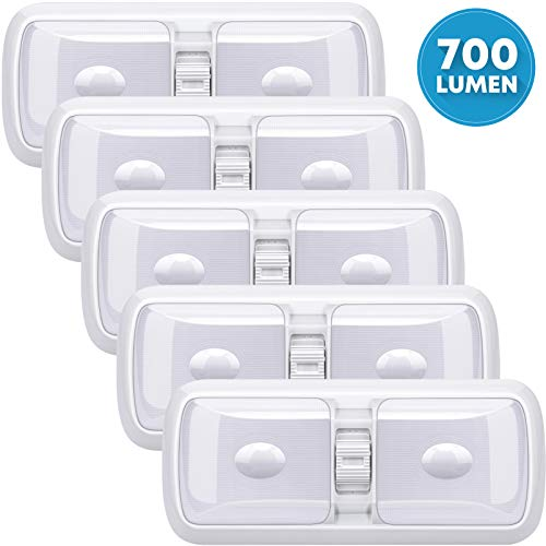 Kohree Upgrade 12V Led RV Ceiling Double Dome Light, Frosted RV Interior Lighting Fixture with ON/Off Switch for Trailer Camper Car Boat (5 Pack Natural White 4000-4500K 700 Lumen)