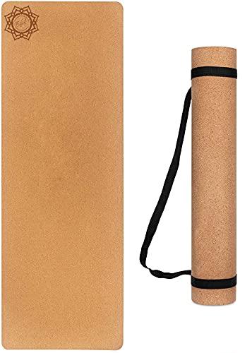 Enhal® Premium   Kork Yoga-Matte   Gymnastik Fitness Sport Extra Rutschfest mit TPE   Pilates Mat mit Tragegurt   183 x 61 x 0,6cm   Extra hohe Dichte und niedriges Gewicht