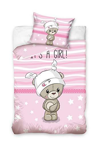 Parure de lit bébé 2 pièces 100 % coton - Dimensions : 100 x 135 cm, 40 x 60 cm (ourson rose)