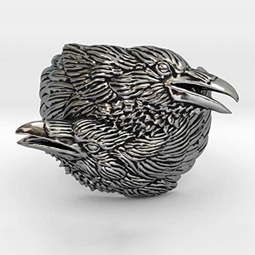 HCMA Anillo Vikingo para Hombre, Dos Cuervos entrelazados, mitología nórdica, Color Plateado, Odin Crow, Motocicleta, Anillos de Motociclista para Mujeres, Hombres, joyería de Amuleto