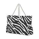 Grandes bolsas de playa Totes de lona Tote bolsa de hombro con estampado de leopardo, rayas de cebra, resistentes al agua para gimnasio viajes diario 038