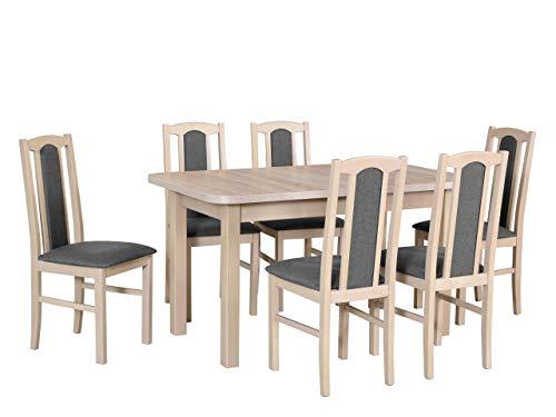 Mirjan24 Esstisch mit 6 Stühlen DM40, Sitzgruppe, Küchentisch, Esstischgruppe, Esszimmer Set, Esstisch Stuhlset, Esszimmergarnitur, DMXZ (Sonoma/Sonoma Malmo New 95)