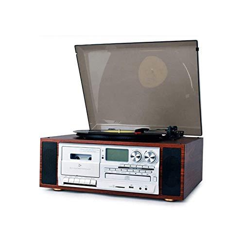 ZSMLB Carillon Giradischi, Giradischi Bluetooth Valigia per Dischi in Vinile, Giradischi a 3 velocità Radio CD Tape Radio Audio per intrattenimento Decorazione Domestica