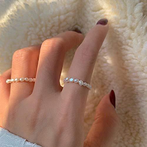 MARKOO Mehrperlen-Perlenringe, natürliche Süßwasserperle, geometrische Ringe für Frauen, durchgehender Kreis, minimalistischer Ring