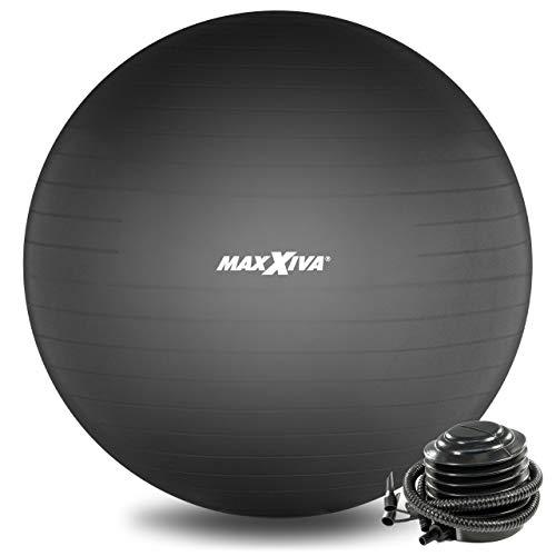 MAXXIVA® Gymnastikball Anti-Burst mit Luftpumpe bis 250 kg hautfreundlicher Sitzball Reha Hometraining Balanceball Yoga Pilates Sport Fitnessball (65 cm, Schwarz)