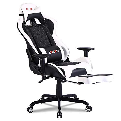 XPELKYS Gaming Racing Stuhl, Ergonomischer Bürostuhl, Computer Stuhl Verstellbare Armlehnen&Rückenlehne, Teleskopfußstütze und Lordosenstütze 150KG(Weiß)