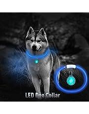Microwear Set di collari Ultra Luminosi per Animali Domestici, Luce LED in Silicone Flessibile Trasparente di Sicurezza Ricaricabile USB,Tagliata su Misura, Misura Universale,Ideale per Tutti i Cani