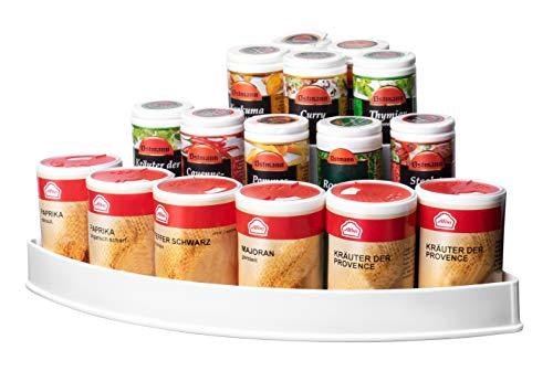 UPP Eck-Küchenregal 3 Etagen in weiß | Als Gewürzregal in der Küche oder im Bad als Kosmetik oder Medikamenten Aufbewahrung | Regal eignet Sich für Gewürze, Medizin, Kosmetika UVM