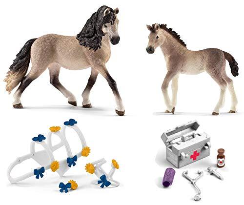 4in1-SET Schleich Pferde Horse Club - Andalusier Stute & Fohlen mit Schmuckset für Pferdeshow und Stallapotheke 13793 + 13822 + 42464 + 42364