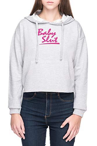 Vendax Baby Slut Damen Bauchfreies Crop Kapuzenpullover Sweatshirt Grau Women's Crop Hoodie Grey