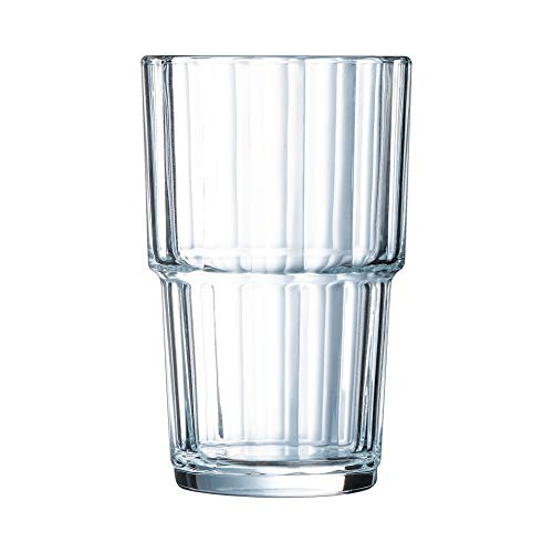 Arcoroc Norvege - Vaso de agua (cristal, 200 ml, 6 unidades), transparente, vidrio, transparente, 250 ml