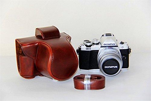 E-M10Mark II custodia, Zakao protettiva in pelle PU borsa custodia per fotocamera con treppiede design compatibile per Olympus OM-D E-M10Mark 2EM10Mark II 14–42mm Lens con cinghia a tracolla