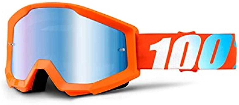 100% STRATA Goggles orange  Mirror bluee Lens, One Size