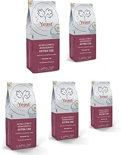 Ácido cítrico monohidrato – E330 – Grado alimentario – Extra CEE – 1 kg (5 kg)