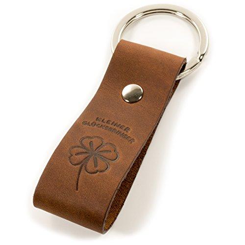 Schlüsselanhänger Leder Kleiner Glücksbringer mit Kleeblatt, Geschenk für Auto, Motorrad, Gastgeschenk, Prüfung, Frauen, Männer, Liebe, Glück, Führerschein