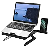 MoKo Laptop Stand, Multi-Angle Adjustable Laptop Holder for Desk Foldable Computer Notebook PC Riser Portable Anti-Slip Mount for MacBook Pro Air, Surface Laptop, Notebook (10 Inch - 15 Inch) - Black