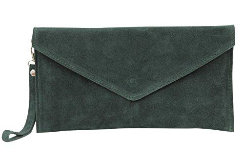 AMBRA Moda Damen Wildleder Envelope Clutch Handschlaufe Handtasche Schultertasche Unterarmtasche Damentasche Veloursleder WL801 (Dunkelgrün)