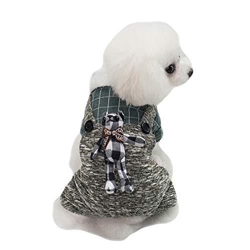 GLZKA Hund vierbeinige Kleidung Baumwolle britischen Stil Plaid Kaninchen Muster Haustier Kostüm für Beauty-Fotografie-Party und das tägliche Leben,Grün,S