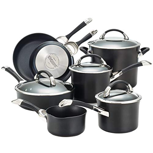 Circulon Symmetry Hard Anodized Nonstick Cookware Pots and Pans Set, 11-Piece, Black