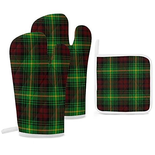 Lot de 3 maniques et maniques - Gants de cuisine à carreaux écossais Clan Martin - Antidérapants et réutilisables - Pour la cuisine, la...