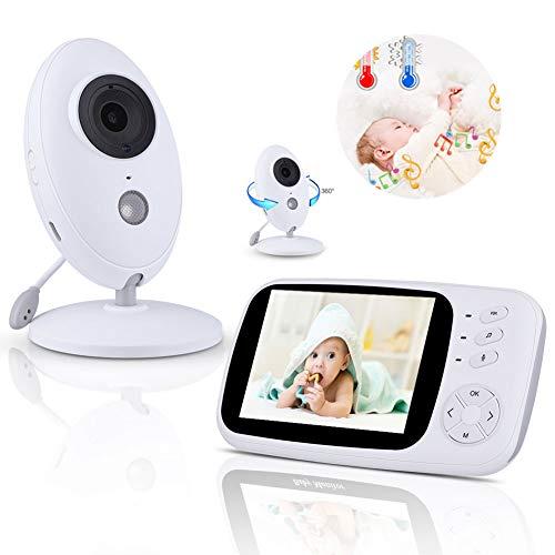 GT-LYD Camara vigilancia Bebe,bebé Monitor de 5 Pulgadas, la visión Nocturna, de Dos vías de intercomunicación, música, Control de Temperatura