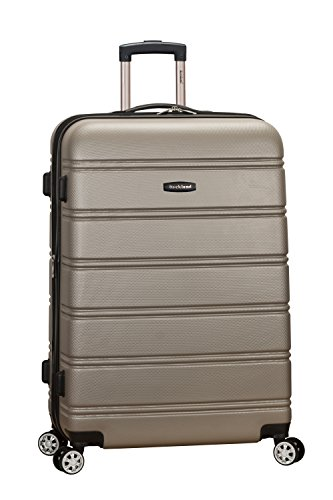 Rockland Melbourne Hardside Expandable Spinner Wheel Luggage, Silver, Checked-Large 28-Inch