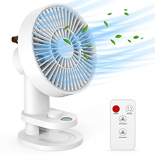 Portable Clip on Fan Rechargeable Desk Fan with Remote Auto Oscillating 6 Inch 13hrs Long Lasting 19 Speeds Super Quiet Air Circulating Table Fan for Golf Cart Office Gym Chair Treadmill Camping