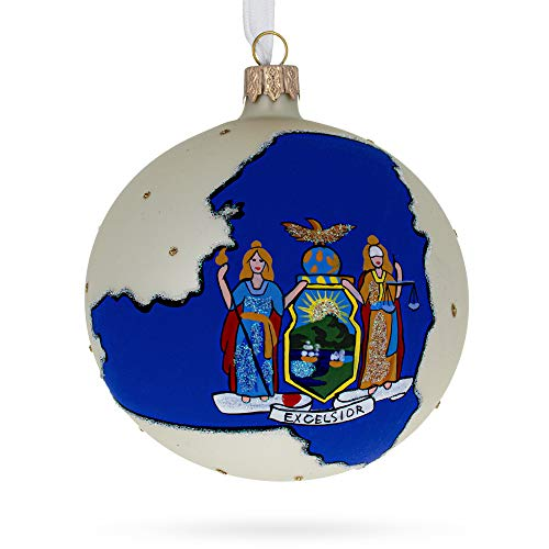 BestPysanky New York State Glass Ball Christmas Ornament 4 Inches