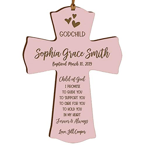 """LifeSong Milestones Personalized Date of Baptism Gifts for Baby Boys and Girls Christening Wall Cross Gift for Godchild Godson Goddaughter for First Holy Communion 4""""x 6"""" I Promise (Pink)"""