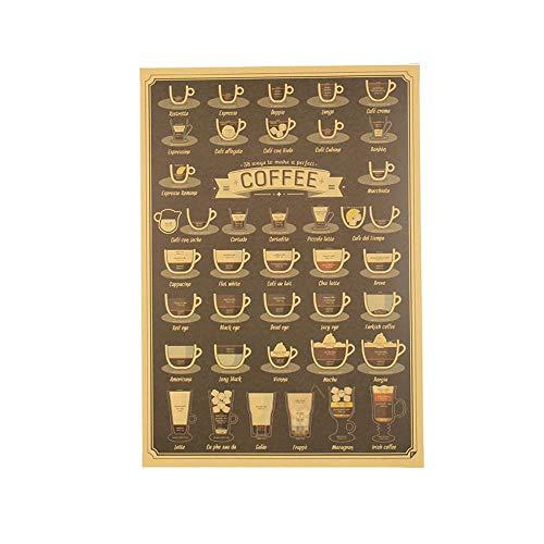 3 STKS Koffiekopje Daquan Bars Keuken Tekening Poster Versiering Vintage Poster Retro Muursticker51.5X36cm