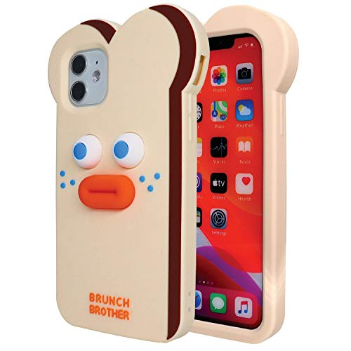 Leatangoo Compatible with iPhone 11 6.1'' Case, Cute Bread Monster Pattern Soft Silicone 3D Cartoon Rubber Girls Women Cover Case for iPhone 11 6.1'' (Bread Monster)