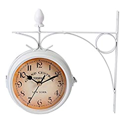IMIKEYA White Vintage Double Sided Wall Clock Iron Metal Silent Quiet Grand Central Station Wall Clock Art Clock Decorative Double Faced Wall Clock Antique Wall Clock