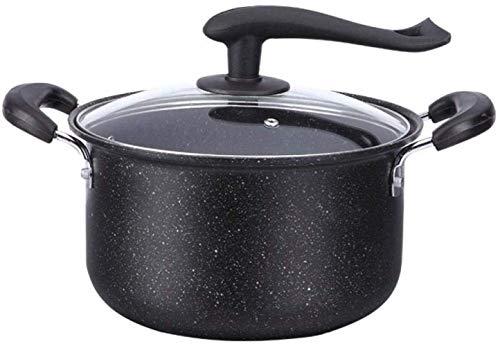 JF-XUAN Cacerolas for estofado, 24cm Maifanstone Antiadherente for cocinar Tapa de la Olla Grande de Sopa Pot Olla Cacerola con Standable de Cristal for la Estufa de Gas Cocina de inducción