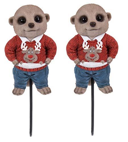 Levendige Kunsten - Set van 2 Plant Pals Baby Meerkats in Rode Kerst Jumpers Thuis of Tuindecoratie