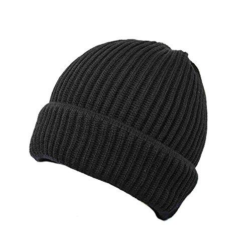 Verline Merino wollen muts gemaakt van fijn gebreid zacht en warm kleur zwart met dubbele envelop 100% wol (merinowol) - heren muts muts beanie ademende militair wol cap één maat