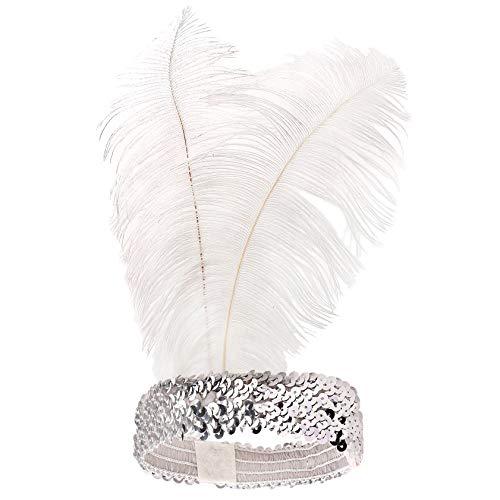 Babeyond® 1920s Stil Stirnband mit schwarzer und weißer Feder Inspiriert von Der Große Gatsby Accessoires für Damen Freie Größe (enthält zwei Stirnbänder) - 5