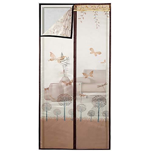 HUTUpc flyggängare magnetdraperi för dörrren med dragtrådat nätdraperi, robust och hållbar, frihet, djurvänlig, brun, 170 x 220 cm
