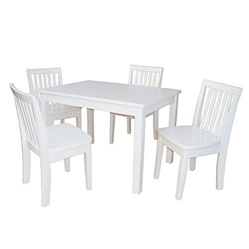 International Concepts 5-Piece 2532 Table with 4 Mission Juvenile Chairs, Linen White Finish