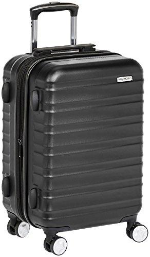 Amazon Basics - Maleta de mano rígida de alta calidad, con ruedas y cerradura TSA incorporada, 55 cm, Negro