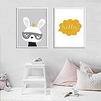 北欧のジクレーウサギの壁アートキャンバス絵画ポスターとプリント漫画バニーキッズホーム子供写真装飾(50x70cm)2pcsフレームレス
