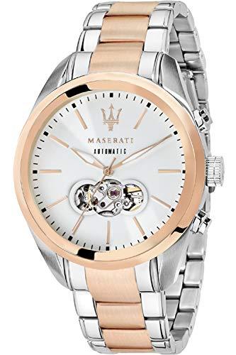 Maserati traguardo Herren Uhr analog Automatik mit Edelstahl vergoldet Armband R8823112001