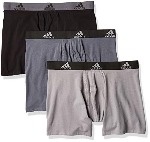 adidas Herren-Boxershorts, Stretch-Baumwolle, 3er-Pack, Onix/Schwarz / Onix Grau/Schwarz, Größe L