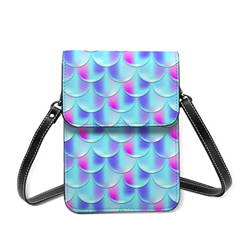 Crossbody Bag Blue Mermaid Scales Women Teens Girls Kids Students Cute PU Leather Card Wallet Purse Handbags Shoulder Bag Multifunctional Phone Pouch Bag