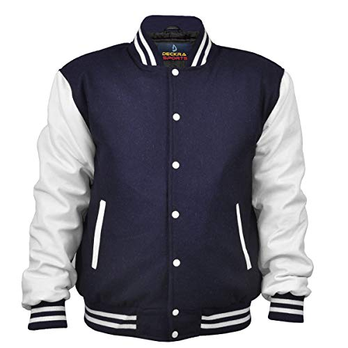 Men's Varsity Jacket Genuine Leather Sleeve and Wool Blend Letterman Boys College Varsity Jackets XXS-5XL (Navy Blue/White, Small)