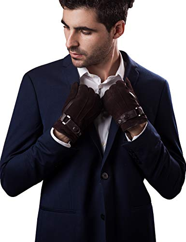 YISEVEN Herren Touchscreen Schaffell Wildleder handschuhe mit Warm Gefüttert Elegant Winter Leder Autofahrer Handschuhe Weihnachtsgeschenke, Braun XL/10.0