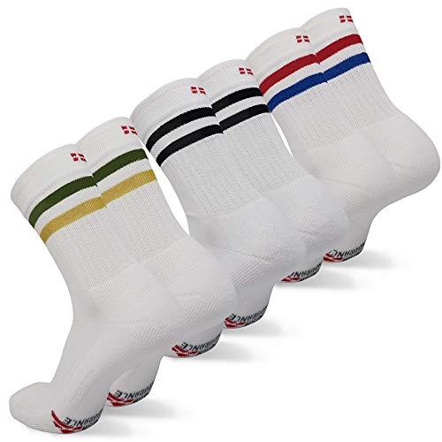 DANISH ENDURANCE Chaussettes Performance Crew de Tennis (Blanc De Plusieurs Couleurs - 3 Paires (1 x Rayures rouges/bleues, 1 x Rayures noires, 1 x Rayures vertes/jaunes), EU 43-47)