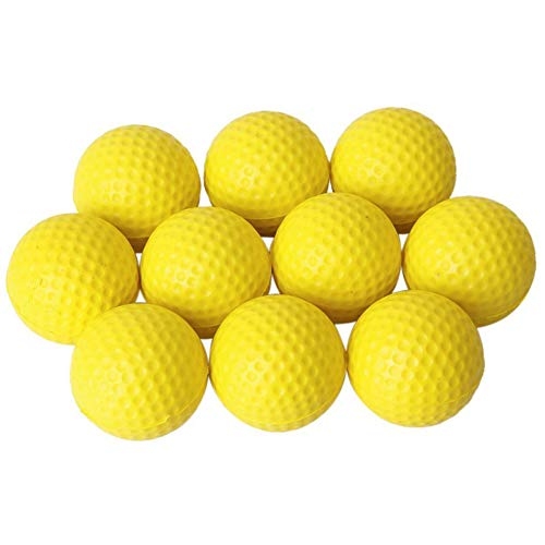 Ruiting Praxis Golfbälle PU Golfball weicher Dimpled Elastic Indoor Outdoor Training Soft Foam Golfbälle Gelb 10pcs Sport-Produkte