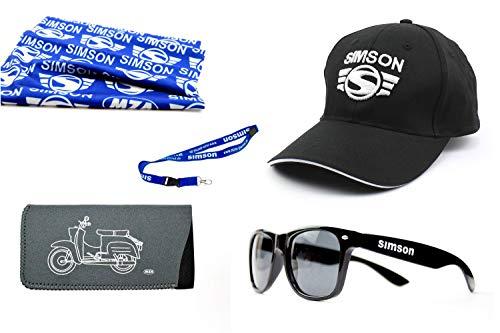 5-teiligesSimson Fanset mit Bascap Brille Brillenetui KR51 Halstuch blau Schlüsselband